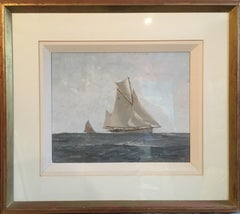 Nautical Oil Painting, Marine Seascape, White Sail Boat, Impressionist, Signed