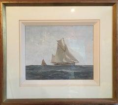 Nautical Oil Painting, Marine Seascape, White Sail Boat, Impressionist, Signed
