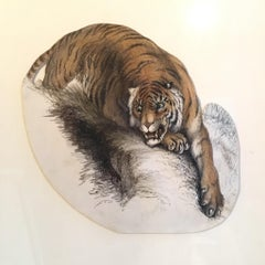 Tiger Painting, Antique Watercolour, British Artist, Signed and Dated