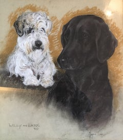 Dog Portrait, Impressionist Painting, Labrador and Terrier, Signed and Dated