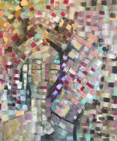 Mosaic Style French Abstract, Original Oil Painting