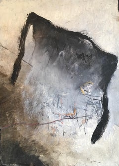 Dark Modern Abstract, French Artist, Original Oil Painting