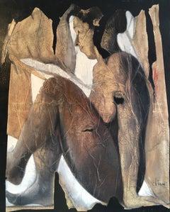 Large Nude Portrait, Stylish Oil Painting, Signed