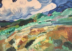Cloudy Rolling Hills, Colourful Landscape, Original Oil Painting