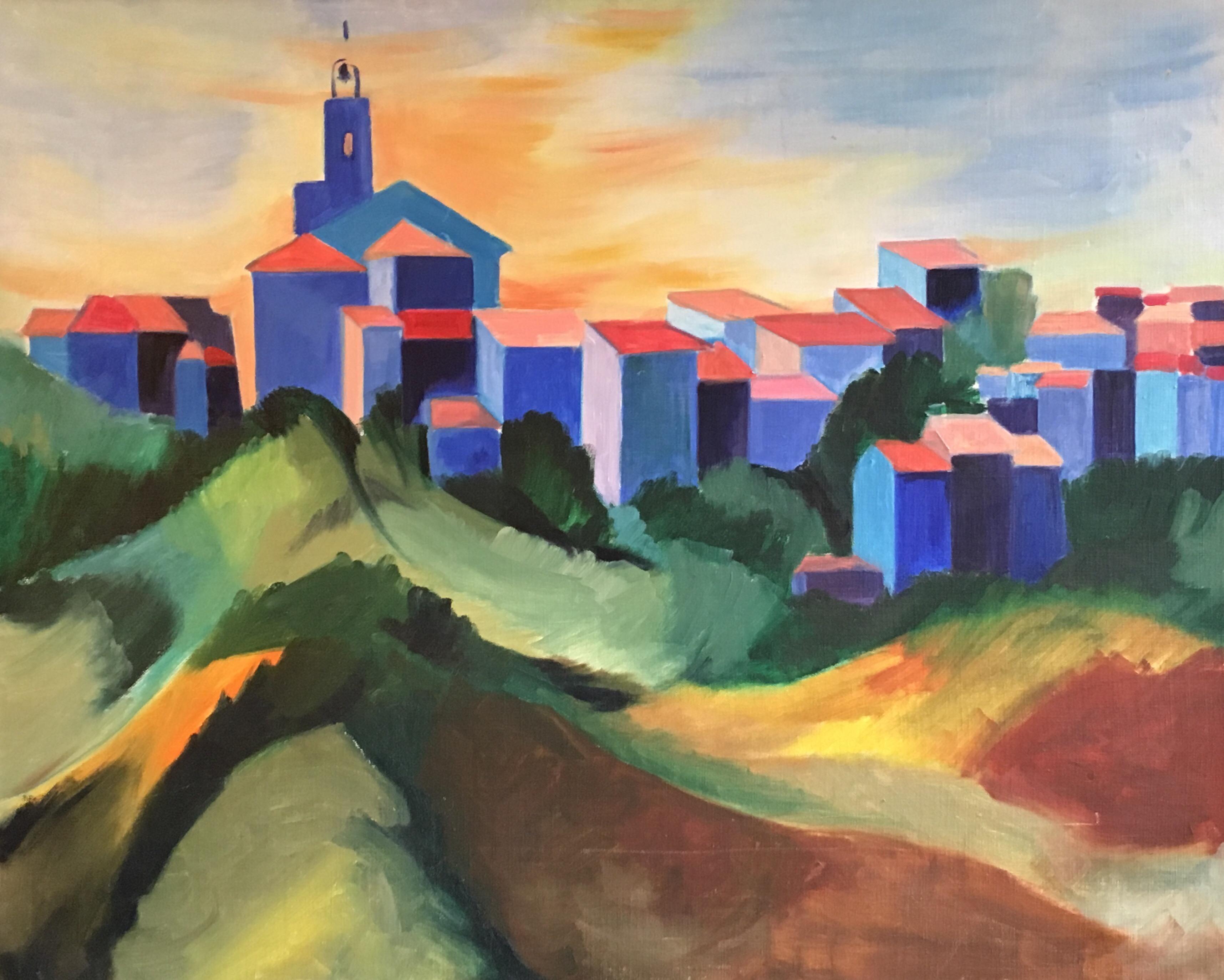 Bright Coloured Cubist Stylised Landscape, Original Oil Painting