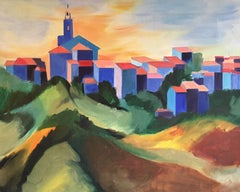 Bright Coloured Cubist Stylised Landscape, Original Oil Painting