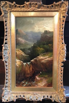 Misty Scottish Waterfall Landscape, Victorian Oil, Original Frame