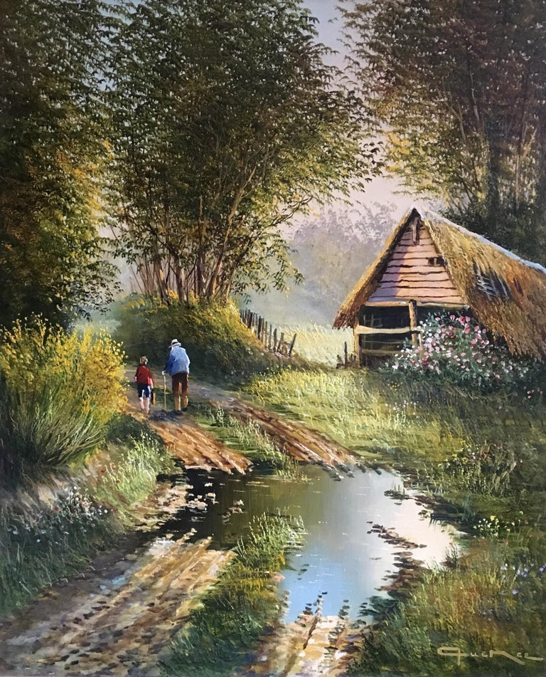 """Raymond Quence Landscape Painting - Impressionist Summer Scene, """"After the rain"""", Oil Painting, Signed"""