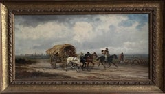 Western Travellers, Signed Victorian Oil Painting, Horses