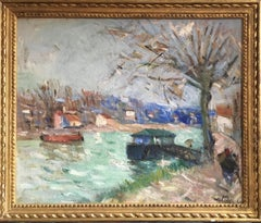 French Impressionist River Landscape, Pastel Colours, Signed and Dated