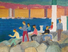 Fun at the Harbour, Bright Colours, Original Oil Painting, Signed