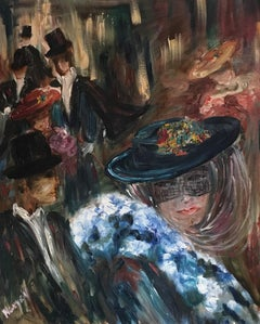 Night at the Saloon, Stylised Portrait, High Society, Signed Oil Painting