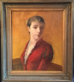 Fine 19th Century French Impressionist Portrait of Lady, Ochre Yellow, framed