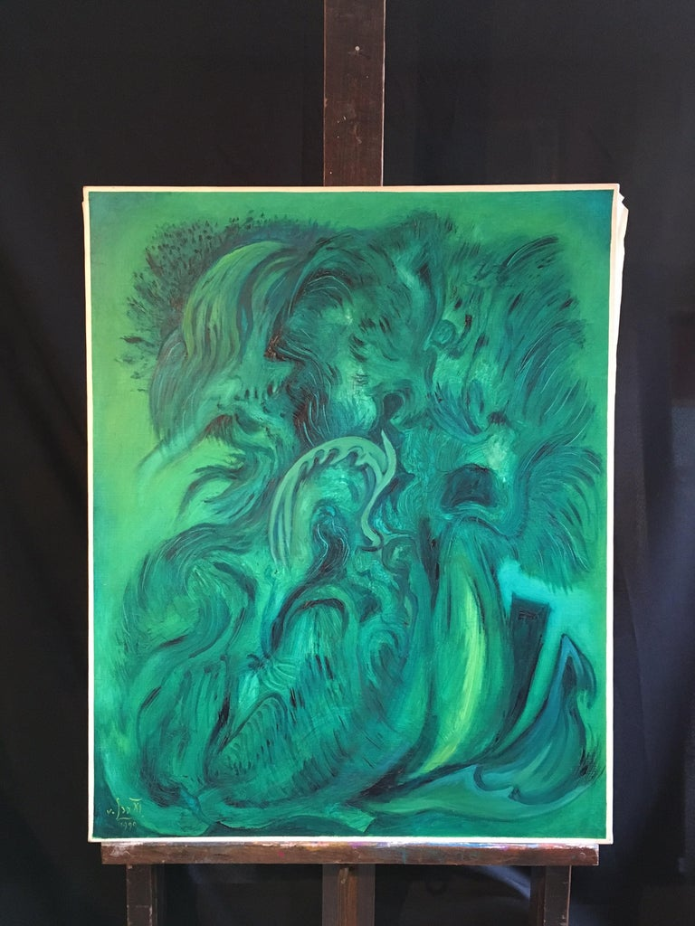 Expressive Abstract, Green Colour, Original Oil Painting, Signed By French artist, Gustave von Loo Signed indistinctly on the lower left hand corner and dated '1990' Oil painting on canvas, unframed Canvas size: 32 x 25.5 inches  Fabulous green