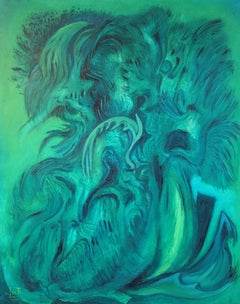 Expressive Abstract, Green Colour, Original Oil Painting, Signed