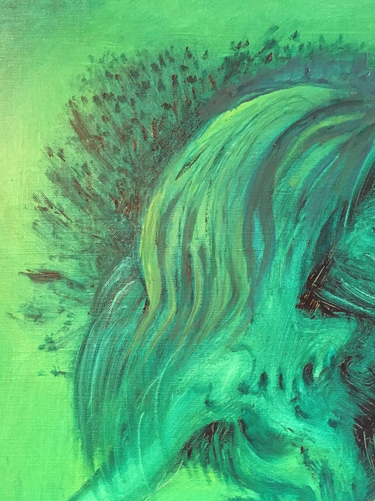 Expressive Abstract, Green Colour, Original Oil Painting, Signed For Sale 5