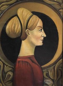 Regal Stylised Portrait, Blonde Female Oil Painting on Metal