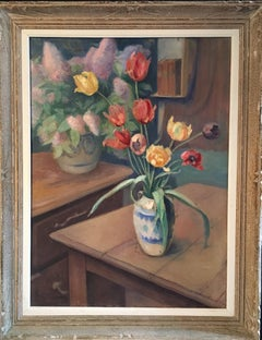 Large French Impressionist Oil Painting of Tulips, Still life, Signed