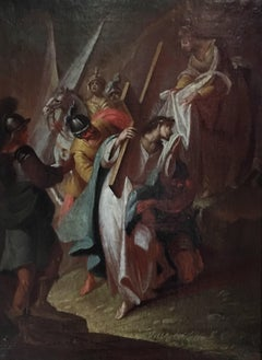 18th Century French Old Master Oil Painting - Christ on the Road to Calvary