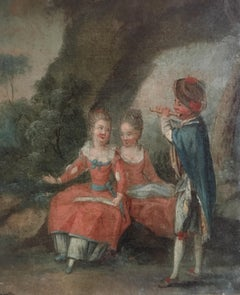 18th Century French Rococo Oil Painting - Children Playing in Woodlands