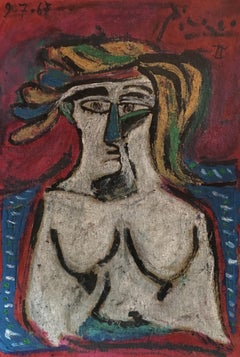 Abstract 1960's Portrait of Nude - signed Picasso - oil painting c.1967
