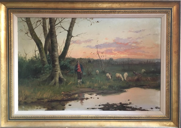 W. Dommerson Animal Painting - Farmer with his Flock, Antique Sunset Landscape, Signed Original Oil
