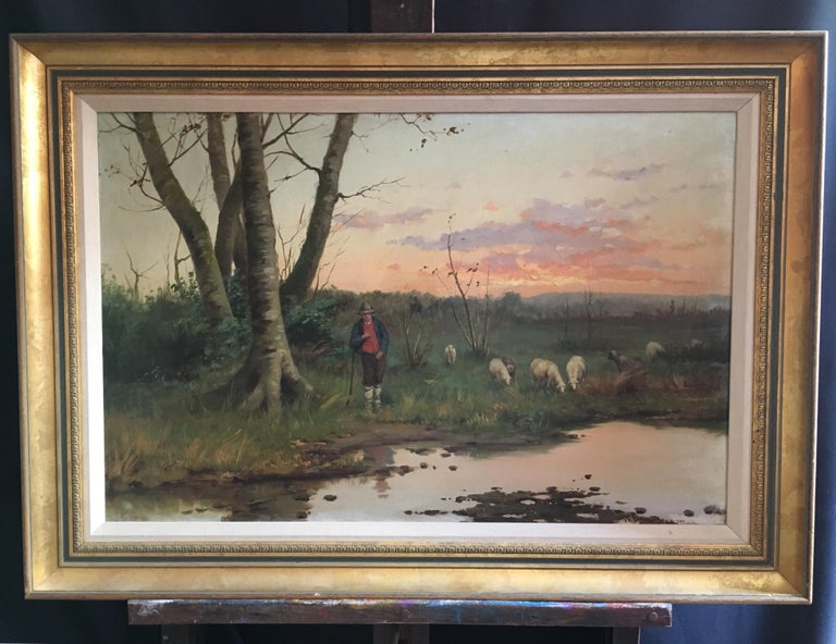 Farmer with his Flock, Antique Sunset Landscape, Signed Original Oil - Painting by W. Dommerson