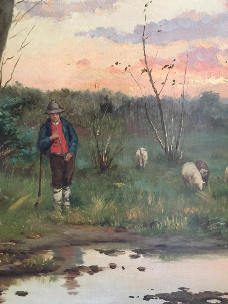 Farmer with his Flock, Antique Sunset Landscape, Signed Original Oil - Brown Animal Painting by W. Dommerson