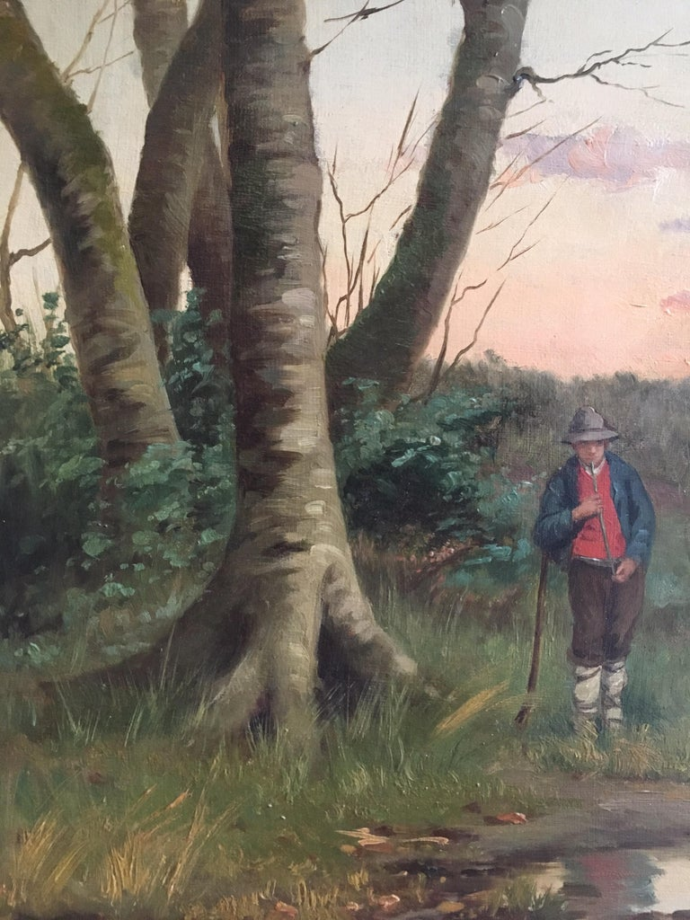 Farmer on his Land, Antique Landscape, Signed Original Oil by British artist William Raymond Dommerson (1860-1927)  Signed by the artist on the lower right hand corner Oil painting on canvas, framed Frame size: 25 x 35 inches  Idyllic sunset
