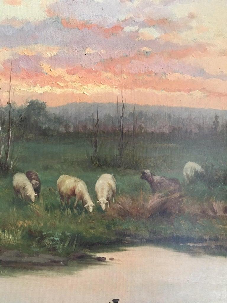 Farmer with his Flock, Antique Sunset Landscape, Signed Original Oil 1