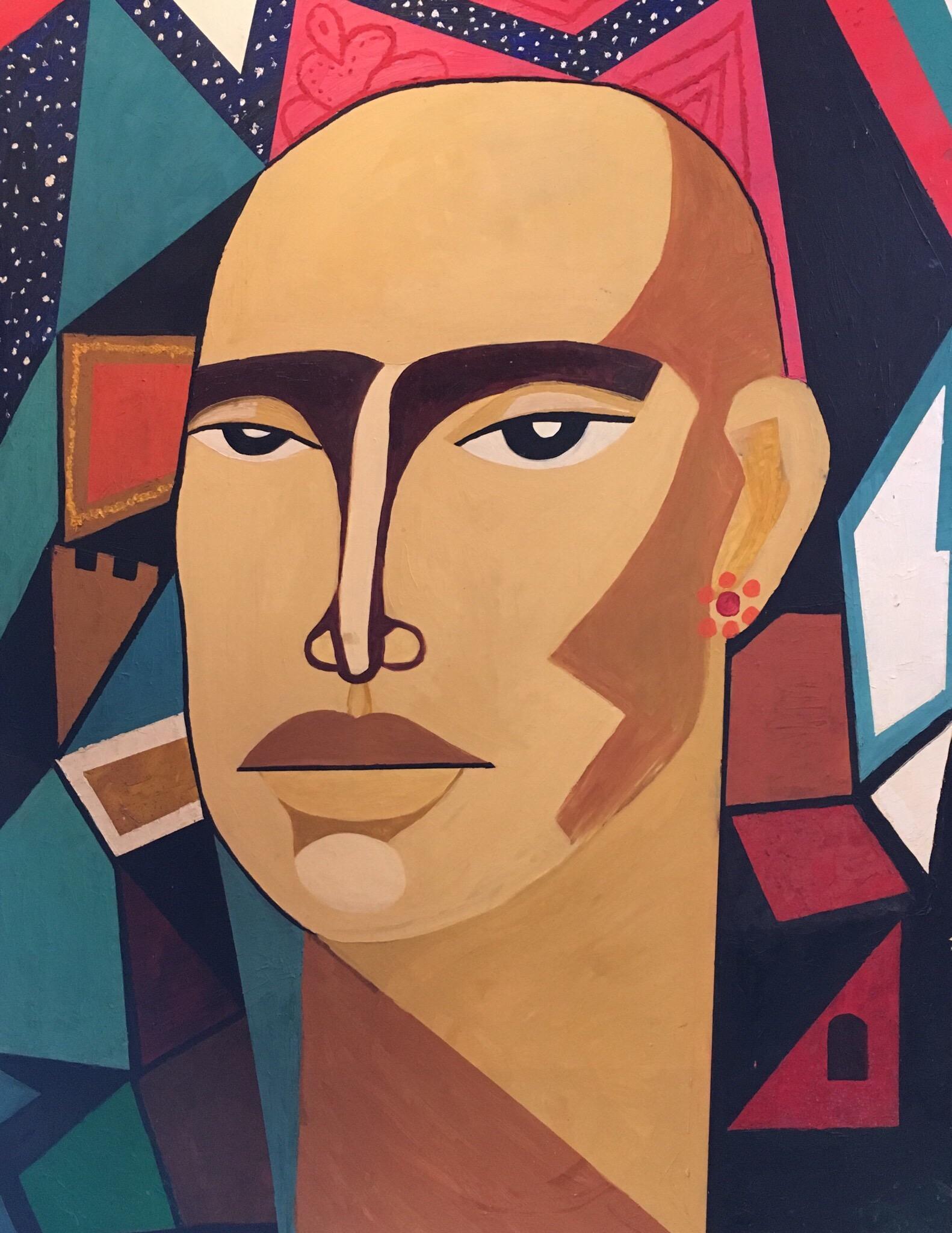 Huge Colourful Male Portrait, Geometric Cubist Original Oil Painting