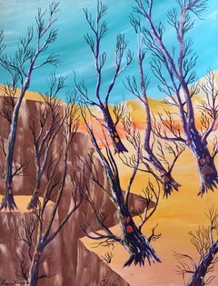 Stylised Derelict Landscape, Bright Colours, Signed Oil Painting
