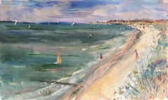 Coastal Seaside Impressionist Landscape, French Original Oil Painting