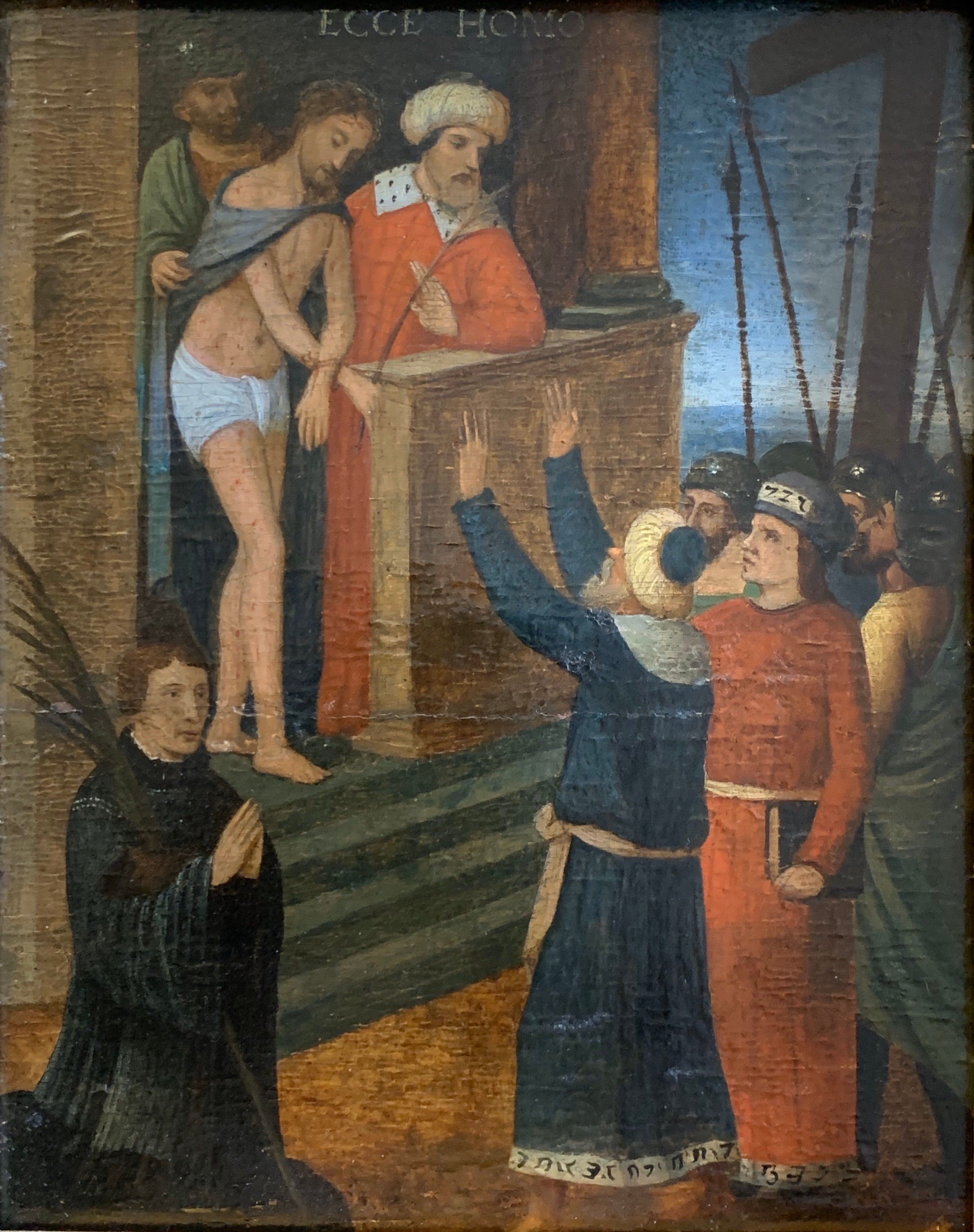Ecce Homo 16th Century Dutch Old Master Oil Painting Wood Panel