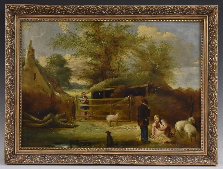 19th Century English Victorian Farm Scene Sheep Shearing framed Oil Painting