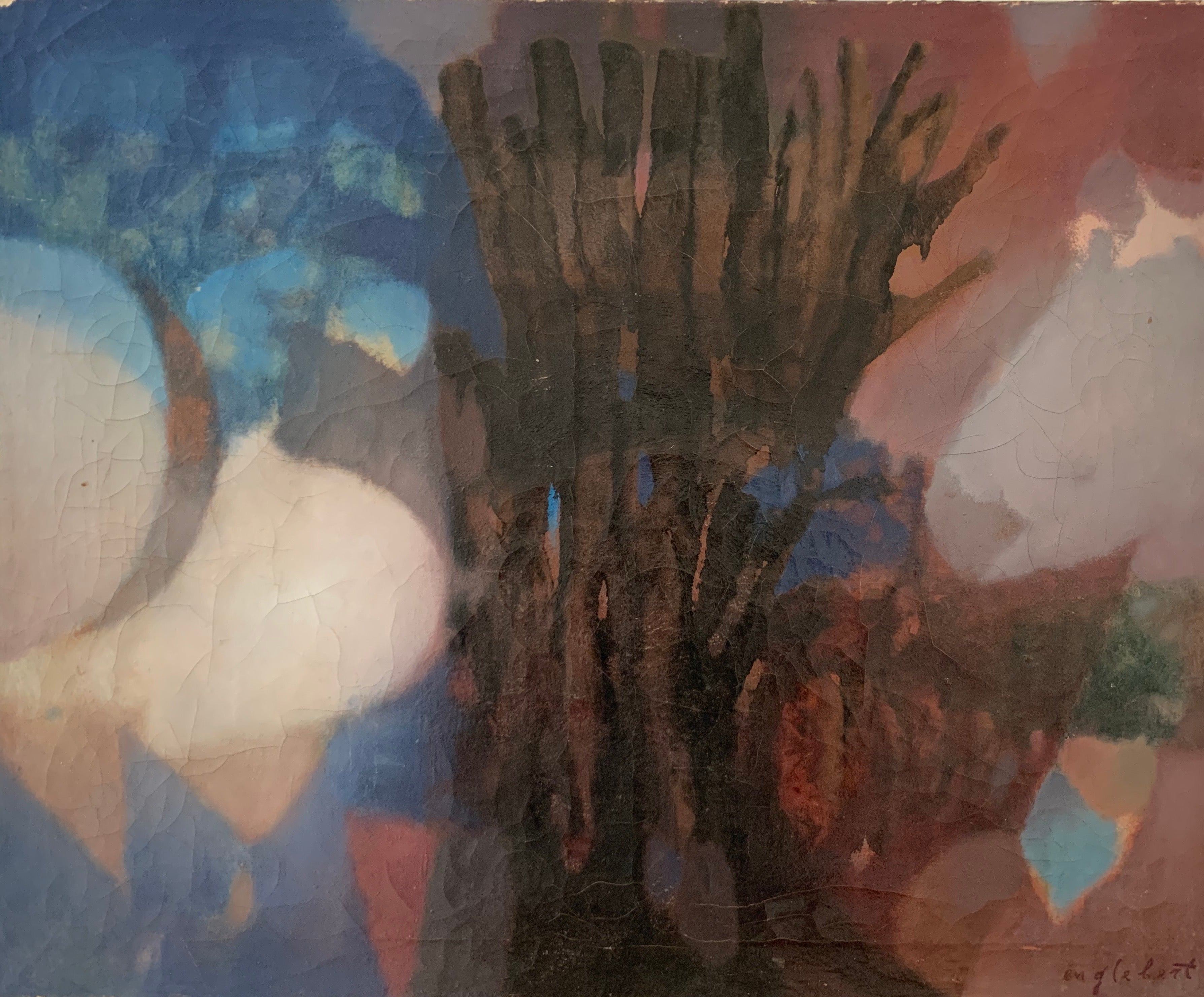 1960's French Modernist Signed Oil Painting Fusion of Colors & Shapes