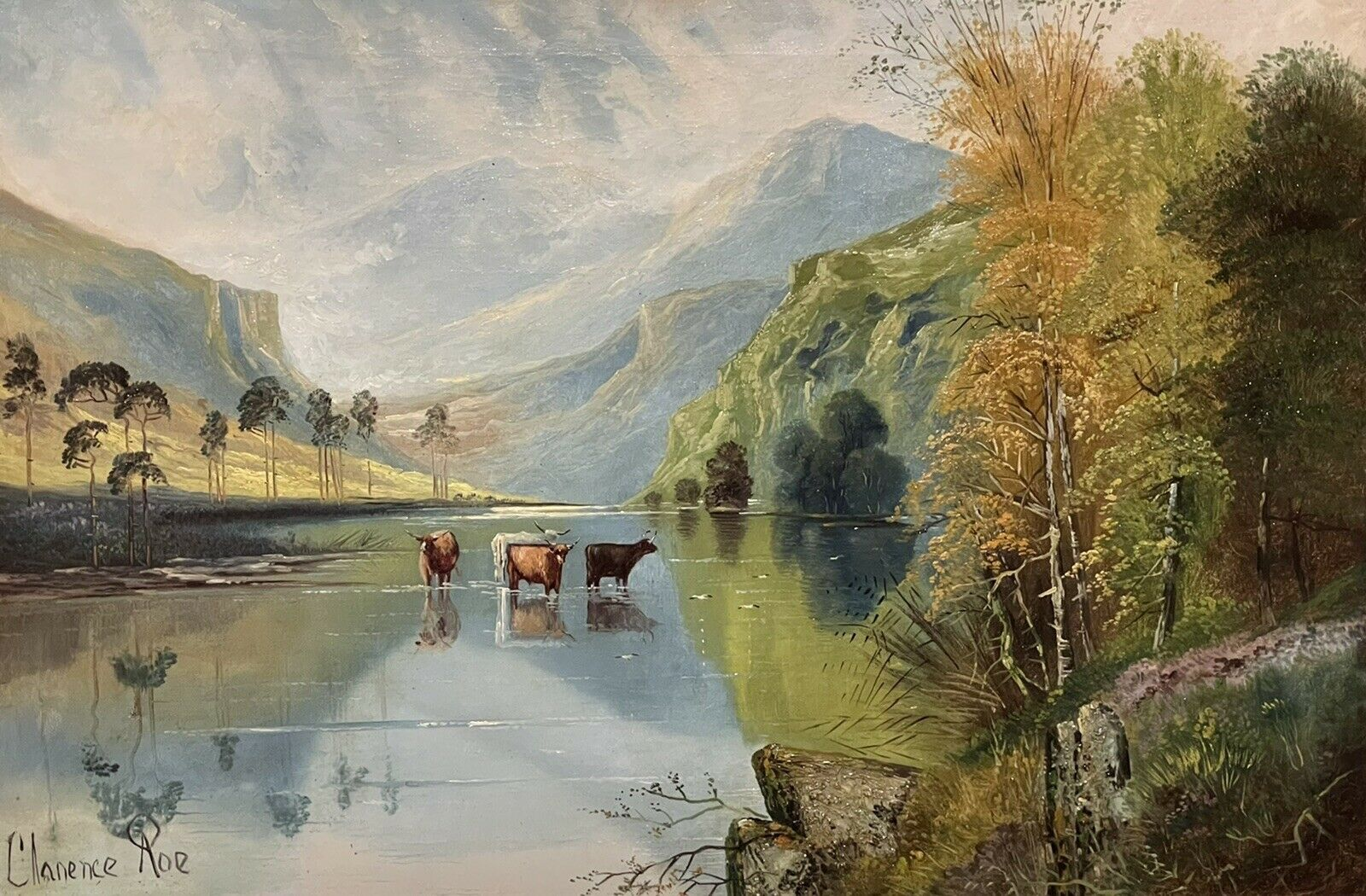 Large Victorian Scottish Highlands Oil Painting - Cattle Watering Loch Katrine