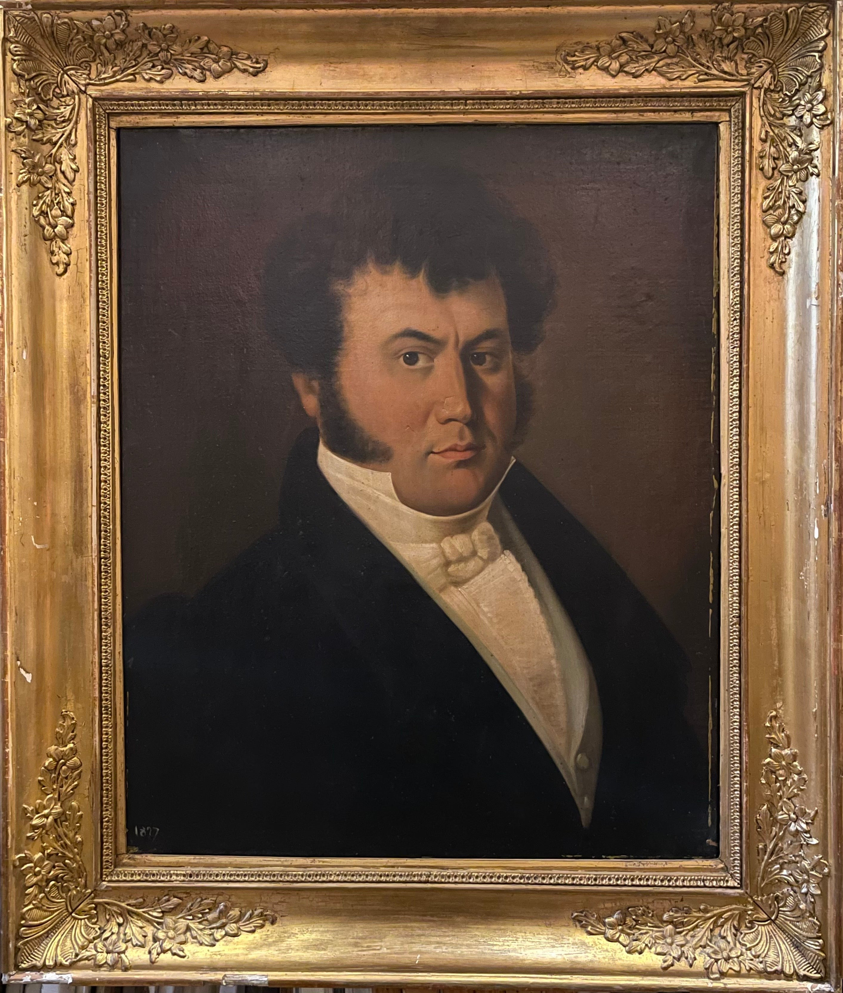 1820's French Empire Period Portrait of a Dapper Young Gentleman - Large Oil
