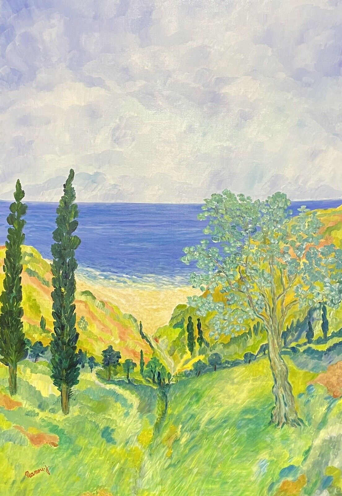 HUGE 20TH CENTURY FRENCH IMPRESSIONIST SIGNED OIL - COTE D'AZUR PROVENCE VIEWS