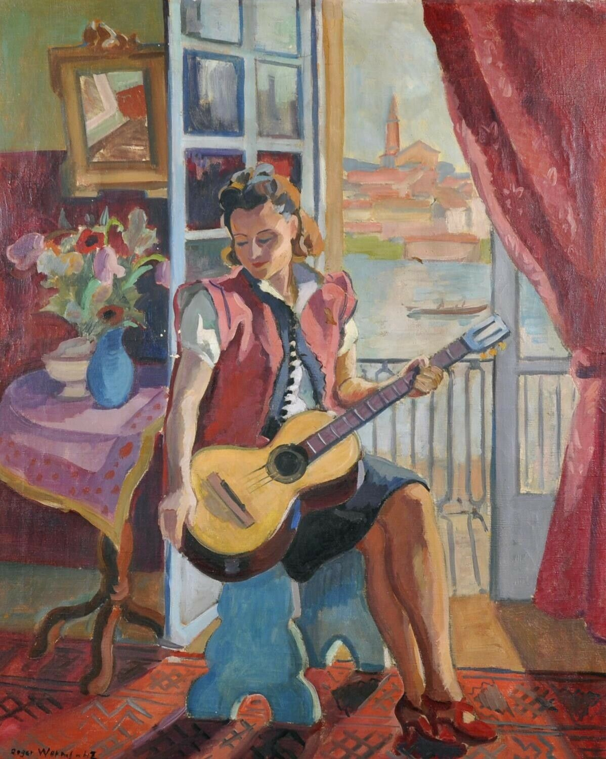 1940's French Post-Impressionist Large Signed Oil - Fashionable Lady in Window