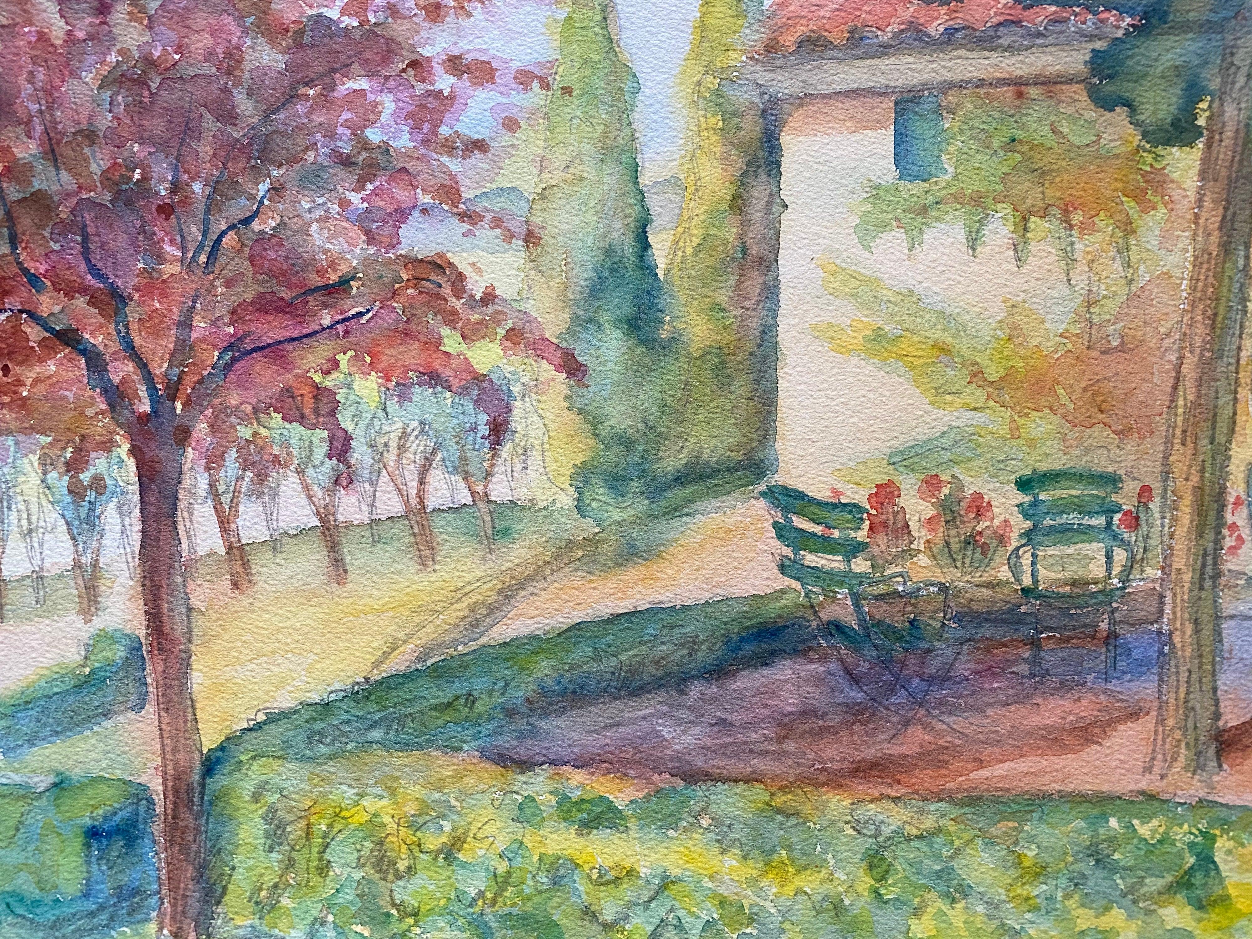 1940's Provence Cottage Summer Garden Painting - Post Impressionist artist