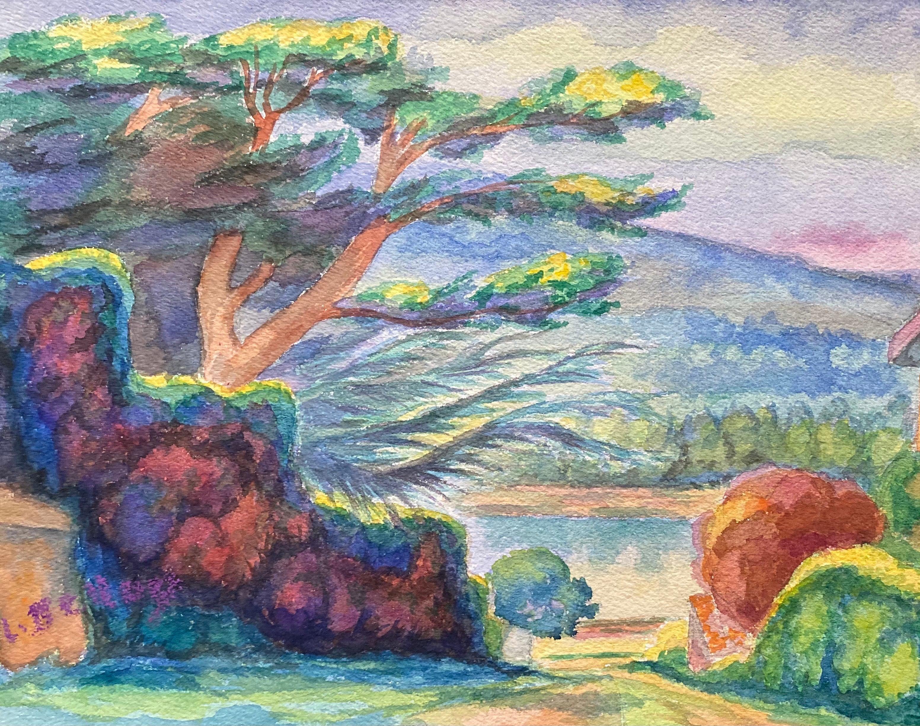 1940's Provence Painting Vibrant Tree Landscape  - Post Impressionist artist