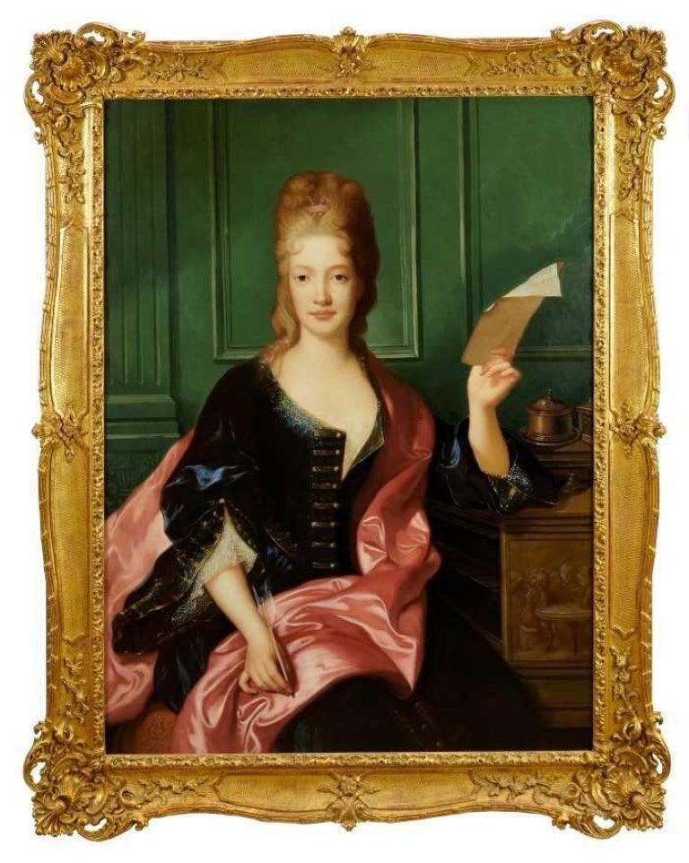 Fine Large Scale Oil Portrait of the Princess of Conti Elaborate Gilt Frame
