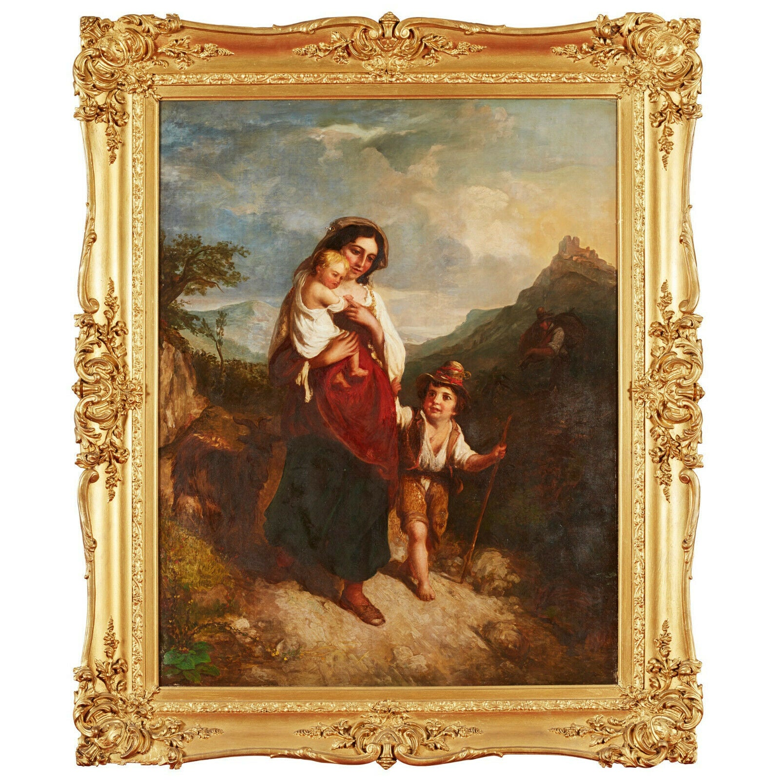 Huge 19th Century Italian Oil Painting Young Family on Mountain Pathway Sunset