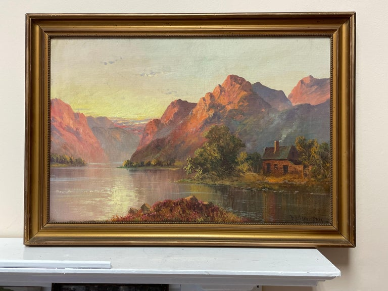 Antique Scottish Highland Loch Scene at Sunset Rugged Mountains & Loch Cottage - Painting by Francis E. Jamieson
