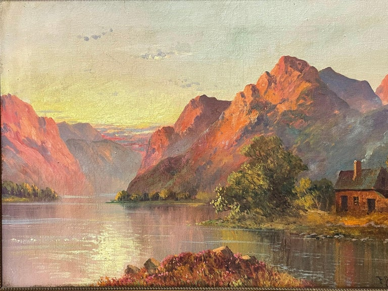 Antique Scottish Highland Loch Scene at Sunset Rugged Mountains & Loch Cottage - Brown Figurative Painting by Francis E. Jamieson