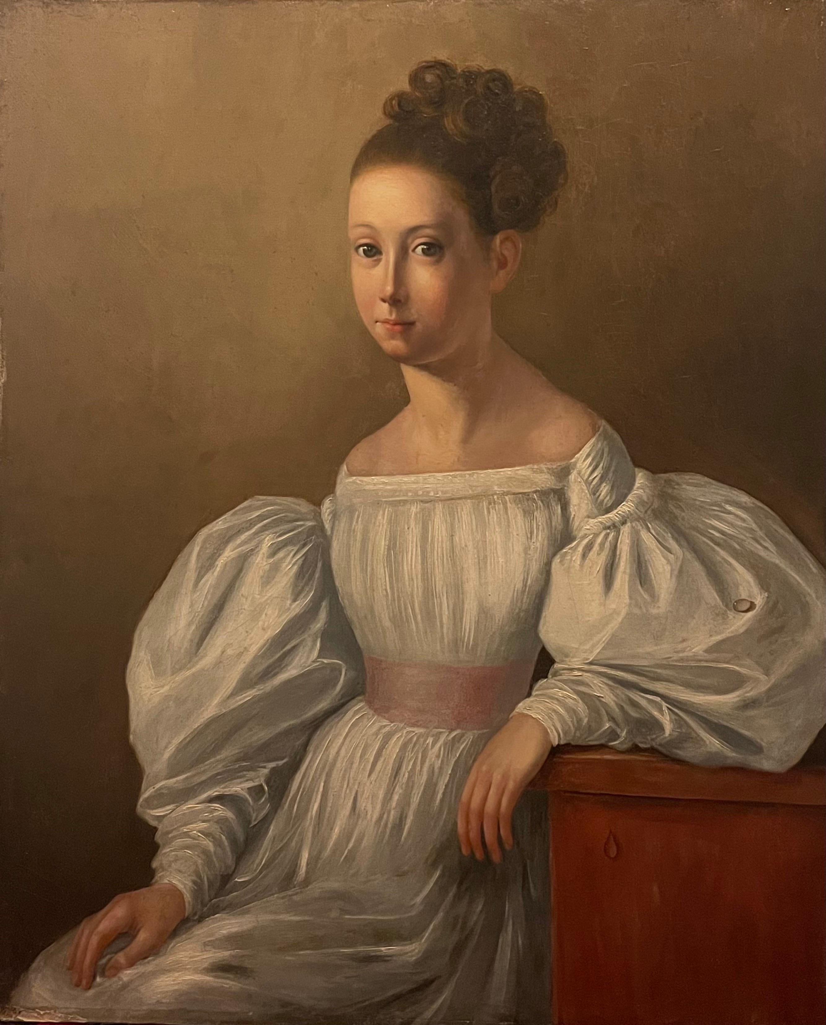 c.1800 FRENCH OIL PAINTING - PORTRAIT OF ARISTOCRATIC YOUNG LADY IN DRESS