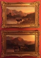 Sunset in the Scottish Highlands - Pair of Antique Signed Oil Paintings