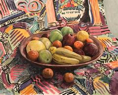 Fruit & Fabric - Stunning Still Life Fruit - Amazing Colours - Signed Oil