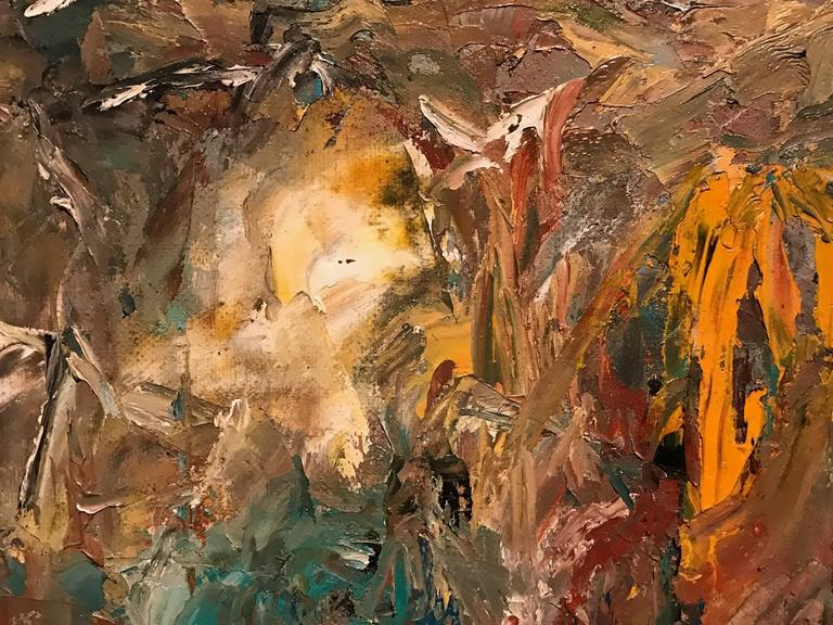 unknown colourful expressionist abstract british oil painting